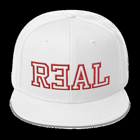 #R3AL SNAPBACK- WHITE/RED