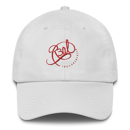 100% AUTHENTIC DAD HAT-WHITE/RED