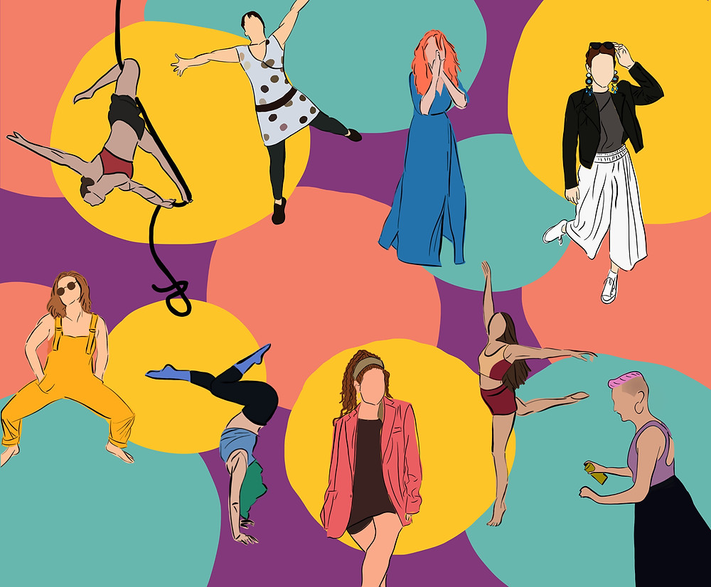 Image description: This image is a digital artwork with a background filled with blue, yellow, orange and purple dots. It has 9 people in the foreground. 4 in the top row and 5 down the bottom. Top row, first person is hanging upside down from a black rope suspended in their knee. They are wearing a red crop top, black bike shorts and have brown hair. Second person is excitedly kicking their foot and stretching their arms. They are wearing a cream polka dot dress, black tights, black runners and their hair is brown. Third person is holding their arms up to their face, covering their mouth. They are wearing a blue dress and have orange hair. The fourth person is holding their sunglasses on their head and is bending their knee to kick their leg behind them. They are wearing long earrings, a grey top with a black jacket, white pants, white shoes and have dark brown hair. On the bottom row, the first person is in a squatted position with their hands in their pockets. They are wearing brown sunglasses, yellow overalls and have light brown hair. The second person is in a handstand which looks like the number 7. Their feet to their bottom makes a horizontal line and they have one knee bent up. They are wearing blue socks, black leggings, a blue top and have green hair. The third person is sitting with their legs crossed with their hands in their pockets. They are wearing a brown dress, a pink jacket, a grey headband and have brown hair. The fourth person is standing on one leg with their other leg behind them at hip height. Their arms are in an 'L' shape. They are wearing red bike shorts, a red and orange crop top and have dark brown hair. The fifth person is facing the left while holding a yellow spray painting can. They are wearing a black flowy skirt, a purple top, hoop earrings and have pink hair.