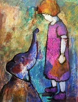Little Girl and Elephant