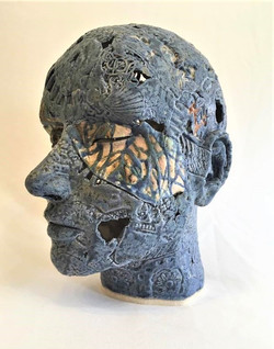 Female Head - Blue Woodblock Print