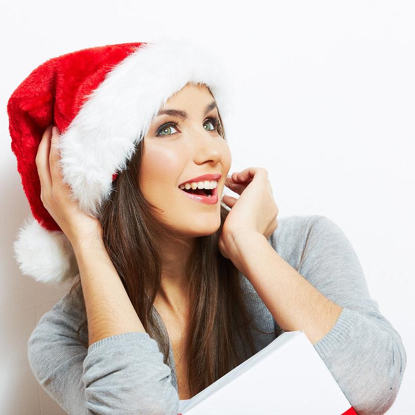 Christmas Santa hat isolated woman portr