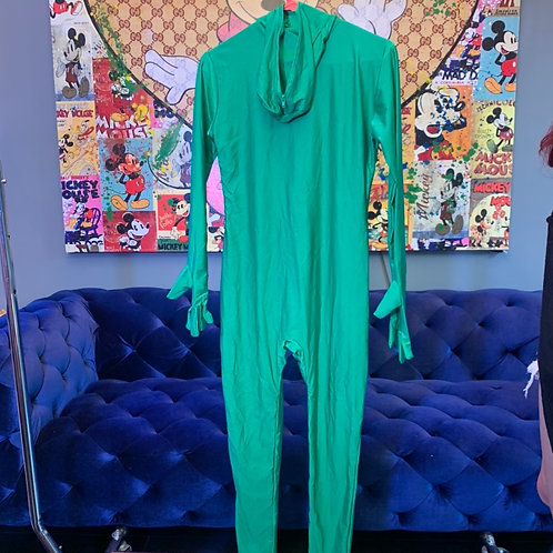 Green screen full body leotard with zippered hood. (As is) Size S