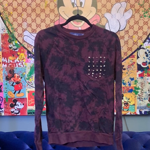Plum and Black Tye Dye Sweatshirt Studded Detail Size S