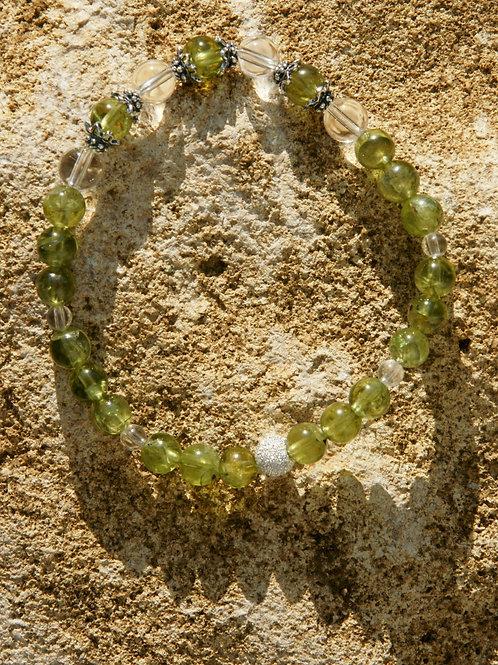 Armband, Bracelet: Bergkristall Peridot Olivin Silber 925