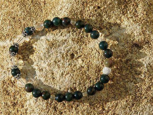 Armband, Bracelet: Bergkristall Heliotrop Silber 925