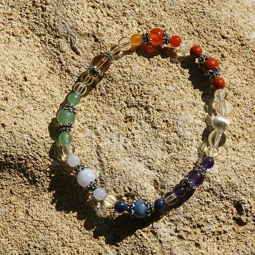Armband, Bracelet: Bergkristall Amethyst Dumortierit Chalzedon AventurSilber 925