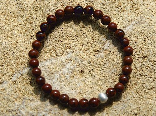 Armband, Bracelet: Mahagony Obsidian 6mm Silber 925
