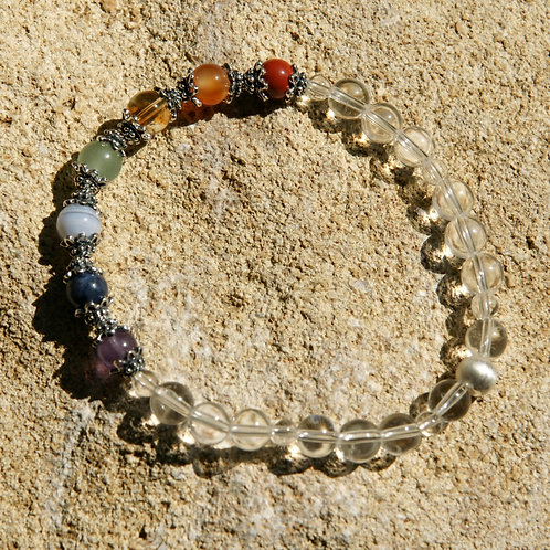 Armband, Bracelet: Bergkristall Amethyst Dumortierit Chalzedon Aventu Silber 925