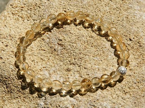 Armband, Bracelet: Citrin 6mm Silber 925