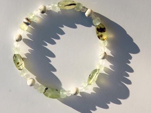 Armband, Bracelet: Prehnit Magnesit Bergkristall Silber 925 EE3