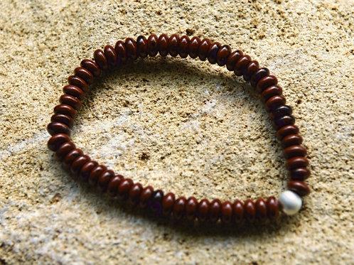 Armband, Bracelet: Mahagony Obsidian Button Silber 925