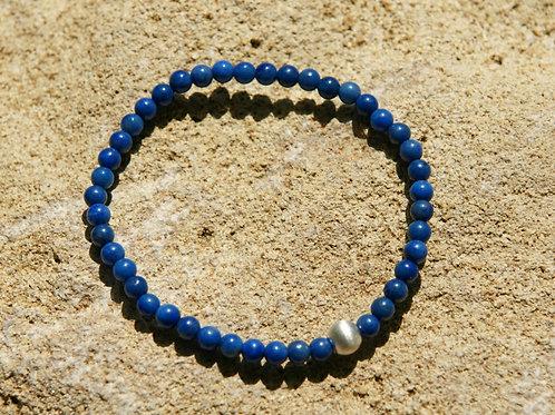 Armband, Bracelet: Lapislazuli 4mm Silber 925