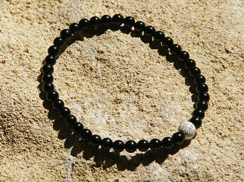Armband, Bracelet: Schörl  4mm Silber 925