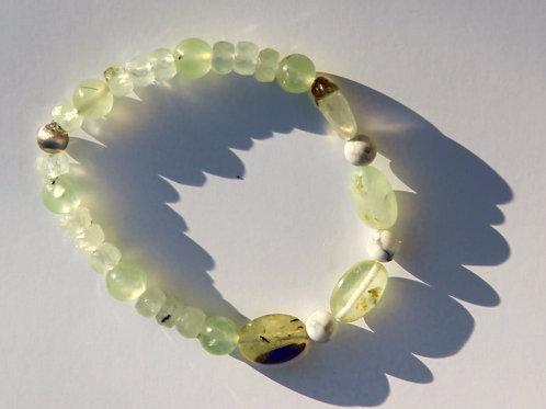 Armband, Bracelet: Prehnit Magnesit Silber 925