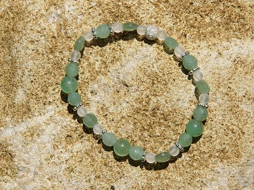 Armband, Bracelet: Aventurin Chrysopras BergkristallSilber 925