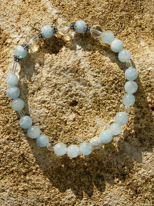 Armband, Bracelet: Bergkristall Aquamarin Silber 925
