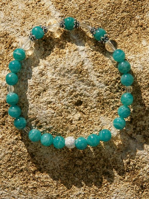 Armband, Bracelet: Bergkristall Amazonit Silber 925