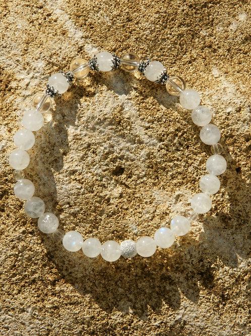 Armband, Bracelet: Bergkristall Labradorit weis Silber 925