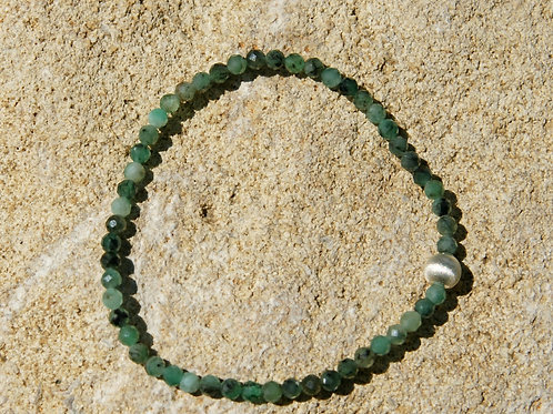 Armband, Bracelet: Smaragd 3mm Facetiert Silber 925
