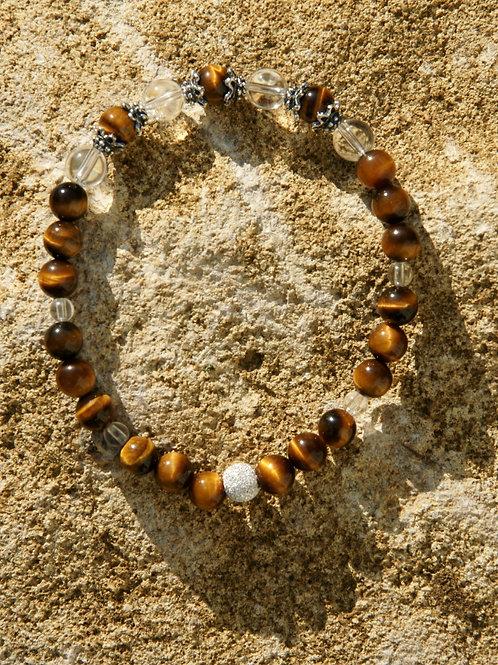 Armband, Bracelet: Bergkristall Tigerauge Silber 925