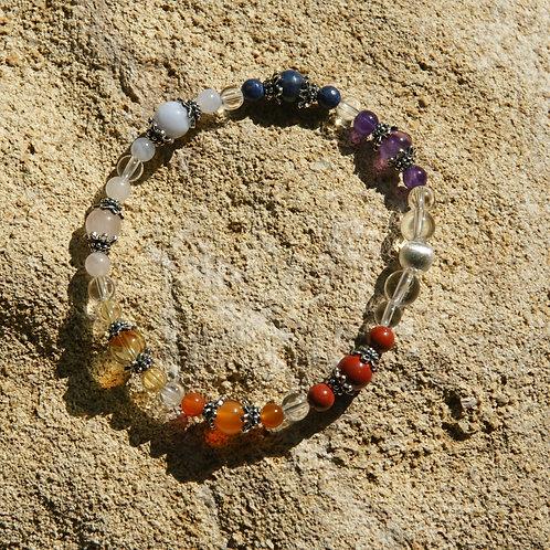 Armband, Bracelet: Bergkristall Amethyst Dumortierit Chalzedon Rosenq Silber 925