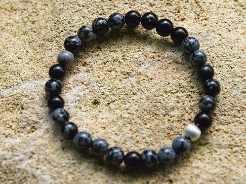 Armband, Bracelet: Schneeflocken Obsidian 6 mmSilber 925