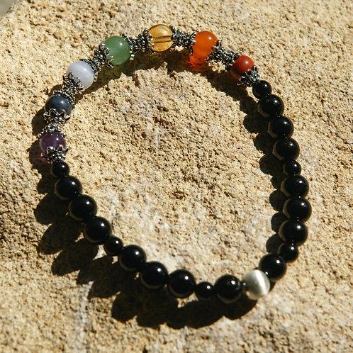 Armband, Bracelet: Schörl Amethyst Dumortierit Chalzedon Aventurin Silber 925