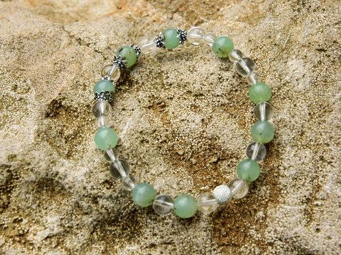 Armband, Bracelet: Bergkristall Chrysopras Silber 925