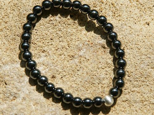 Armband, Bracelet: Hämatit Silber 925