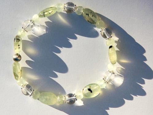 Armband, Bracelet: Bergkristall Prehnit Silber 925