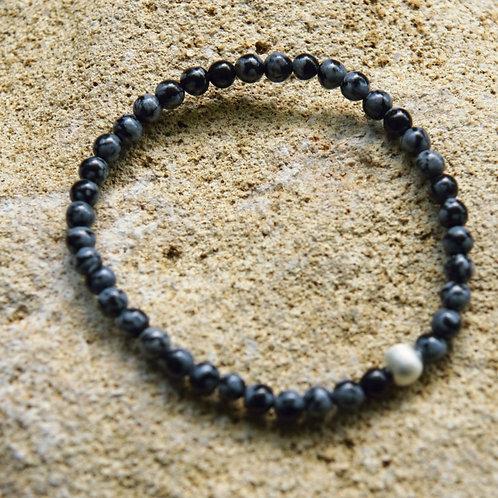 Armband, Bracelet: Schneeflocken Obsidian 4mm Silber 925