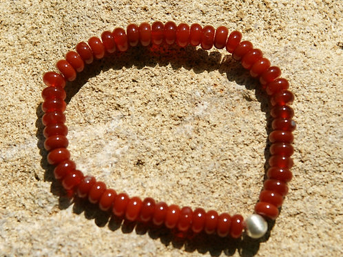Armband, Bracelet: Karneol Button Silber 925