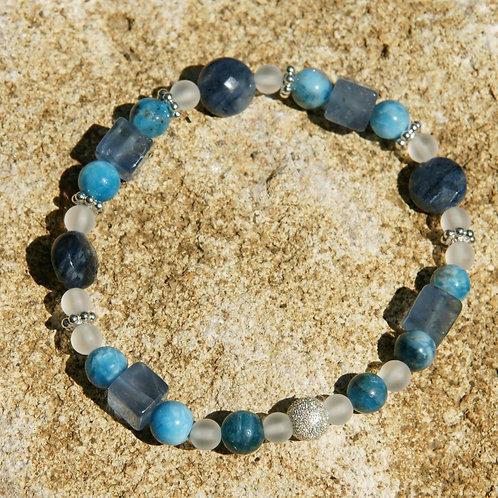 Armband Bracelet: Dumortiertit Apatit Fluorit BergkristallSilber 925