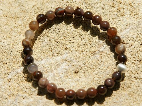 Armband, Bracelet: Versteinertes Holz  Silber 925