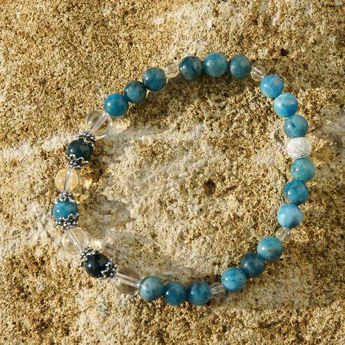 Armband, Bracelet:  Apatit Bergkristall Silber 925