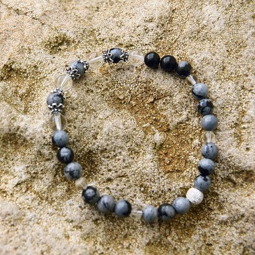 Armband, Bracelet: Bergkristall Schneeflockenobsidian Silber 925