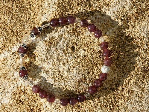Armband, Bracelet: Bergkristall Lepidolith Silber 925
