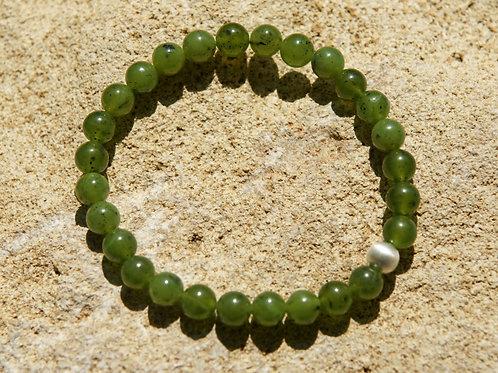 Armband, Bracelet: Nephrit Silber 925