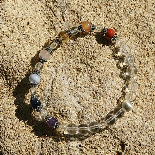 Armband, Bracelet: Bergkristal lAmethyst Chalzedon Dumortierit RosenquSilber 925