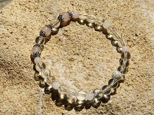 Armband, Bracelet: Bergkristall Rosenquarz Silber 925