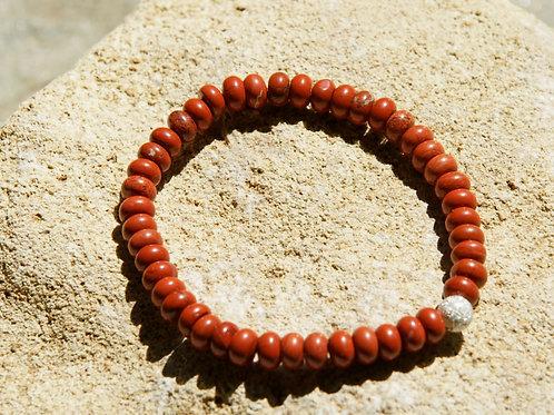 Armband, Bracelet: roter Jaspis Button 6 mm Silber 925