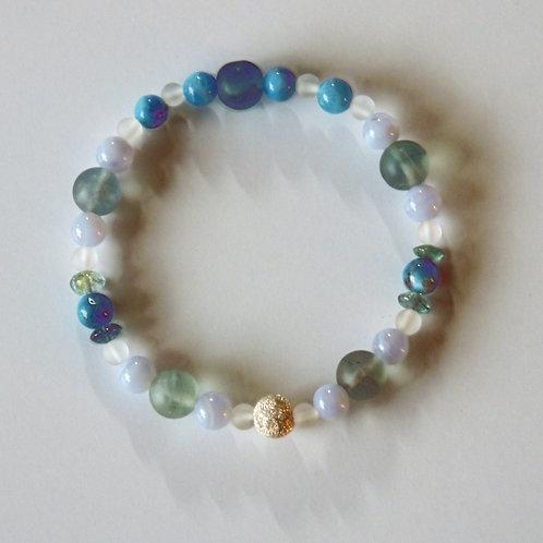 Armband, Bracelet: Fluorit, Apatit, Chalzedon, Turmalin Silber 925