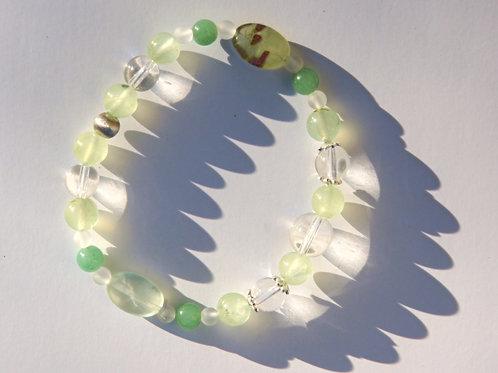Armband, Bracelet: Bergkristall Prehnit Aventurin Silber 925