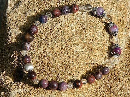 Armband, Bracelet: Bergkristall Sugilit Silber 925