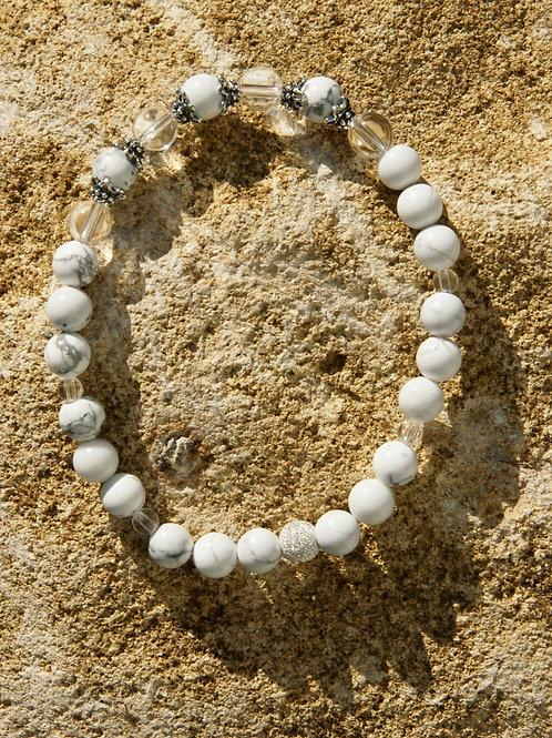 Armband, Bracelet: Bergkristall Magnesit Silber 925