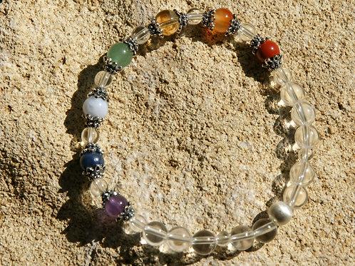 Armband, Bracelet: Bergkristall  Amethyst Dumortierit Chalzedon Avent Silber 925