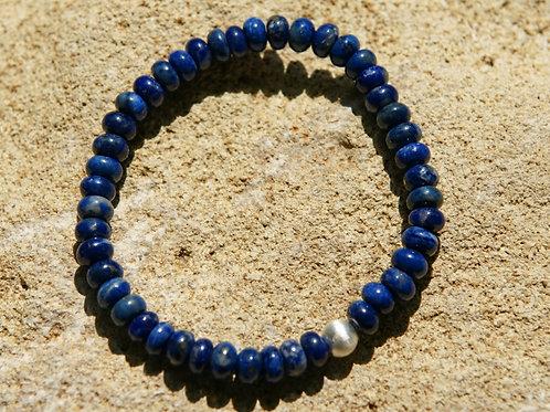 Armband, Bracelet: Lapislazulit Button Silber 925