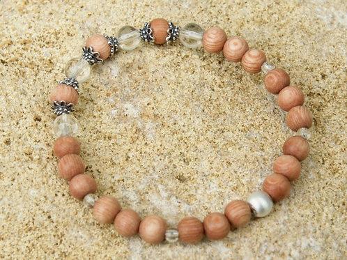 Armband, Bracelet: Bergkristall Rosenholz Silber 925