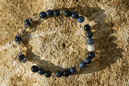 Armband, Bracelet: Bergkristall Dumortierit Silber 925